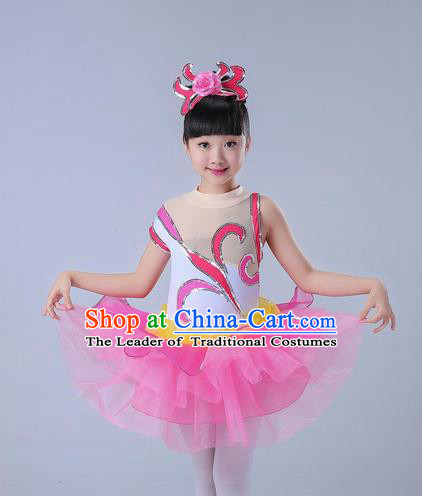Top Grade Professional Compere Modern Dance Costume, Children Opening Dance Chorus Uniforms Jazz Dance Paillette Pink Bubble Dress for Girls