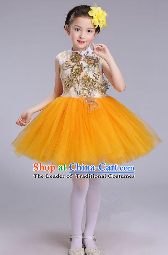 Top Grade Professional Compere Modern Dance Costume, Children Opening Dance Chorus Uniforms Yellow Bubble Dress for Girls
