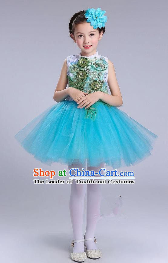 Top Grade Professional Compere Modern Dance Costume, Children Opening Dance Chorus Uniforms Blue Bubble Dress for Girls