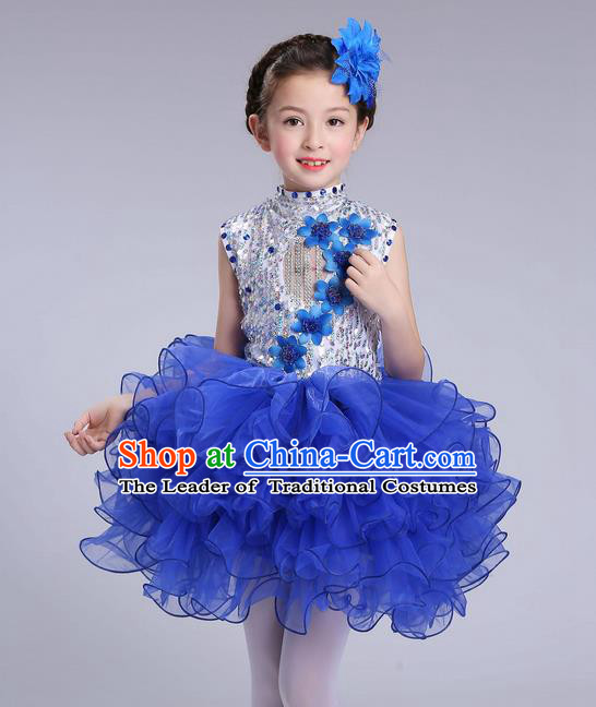 Top Grade Professional Compere Modern Dance Costume, Children Opening Dance Chorus Flowers Uniforms Princess Blue Bubble Dress for Girls