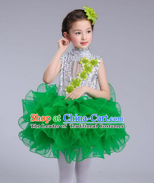 Top Grade Professional Compere Modern Dance Costume, Children Opening Dance Chorus Flowers Uniforms Princess Green Bubble Dress for Girls