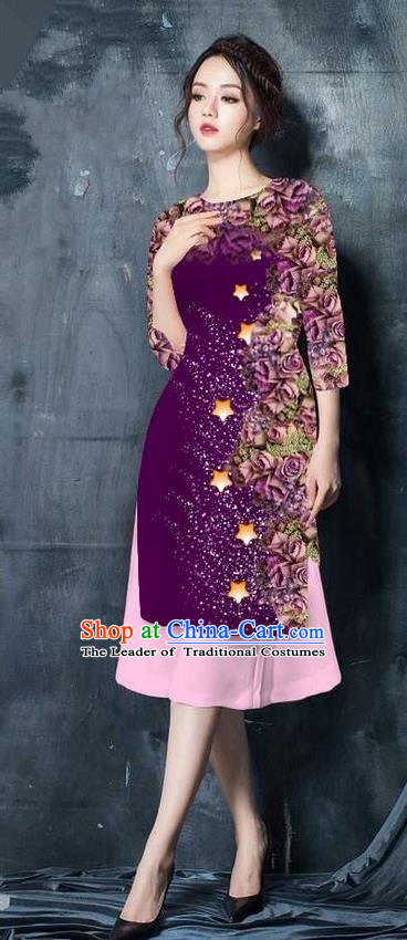 Traditional Top Grade Asian Vietnamese Costumes Classical Printing Purple Cheongsam, Vietnam National Vietnamese Bride Ao Dai Dress for Women