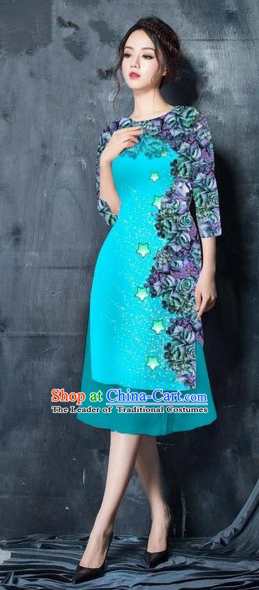 Traditional Top Grade Asian Vietnamese Costumes Classical Printing Blue Cheongsam, Vietnam National Vietnamese Bride Ao Dai Dress for Women
