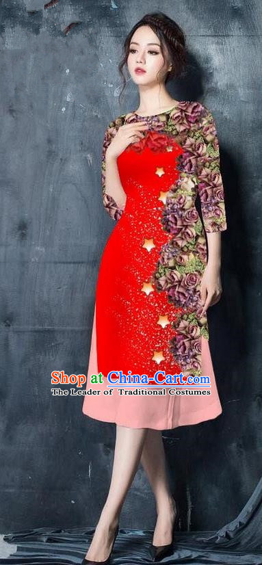 Traditional Top Grade Asian Vietnamese Costumes Classical Printing Red Cheongsam, Vietnam National Vietnamese Bride Ao Dai Dress for Women