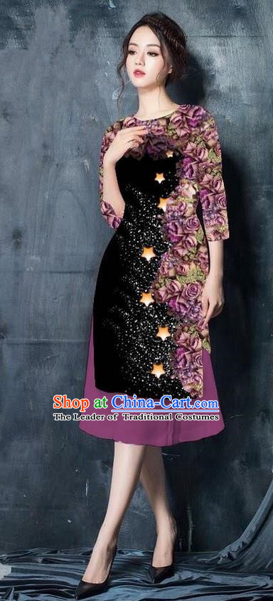 Traditional Top Grade Asian Vietnamese Costumes Classical Printing Black Cheongsam, Vietnam National Vietnamese Bride Ao Dai Dress for Women