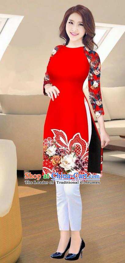 Traditional Top Grade Asian Vietnamese Costumes Classical Printing Red Short Cheongsam, Vietnam National Vietnamese Ao Dai Dress for Women