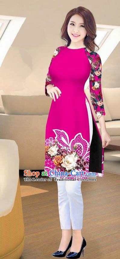 Traditional Top Grade Asian Vietnamese Costumes Classical Printing Rosy Short Cheongsam, Vietnam National Vietnamese Ao Dai Dress for Women