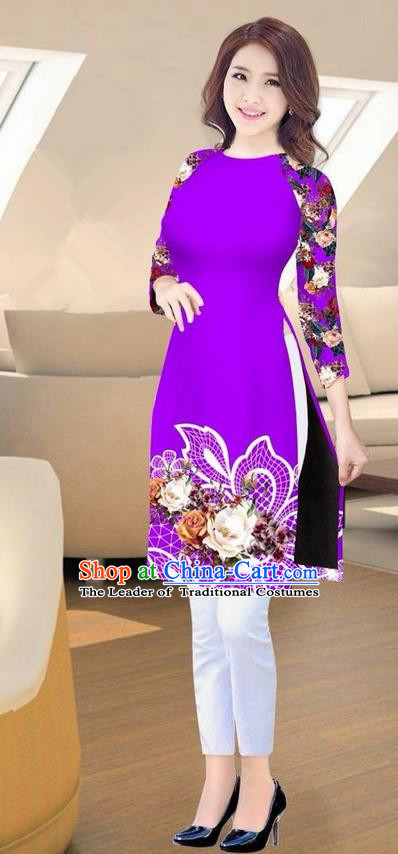 Traditional Top Grade Asian Vietnamese Costumes Classical Printing Purple Short Cheongsam, Vietnam National Vietnamese Ao Dai Dress for Women