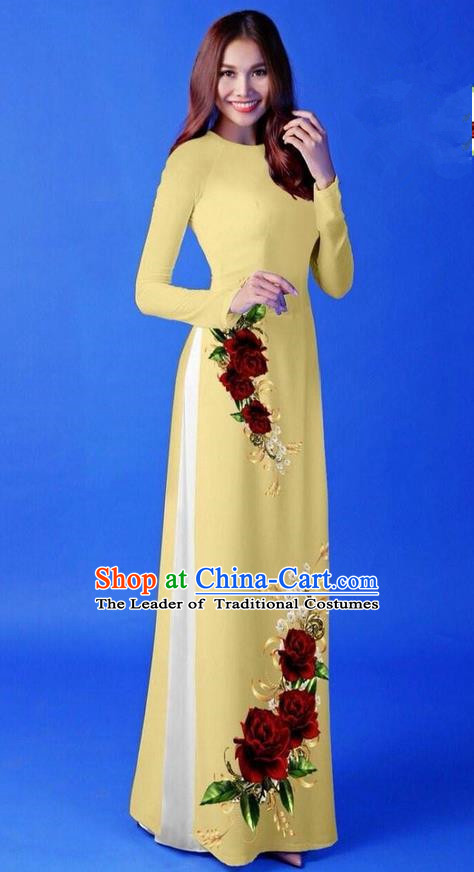 Traditional Top Grade Asian Vietnamese Costumes Classical 3D Printing Yellow Long Cheongsam, Vietnam National Vietnamese Princess Ao Dai Dress for Women