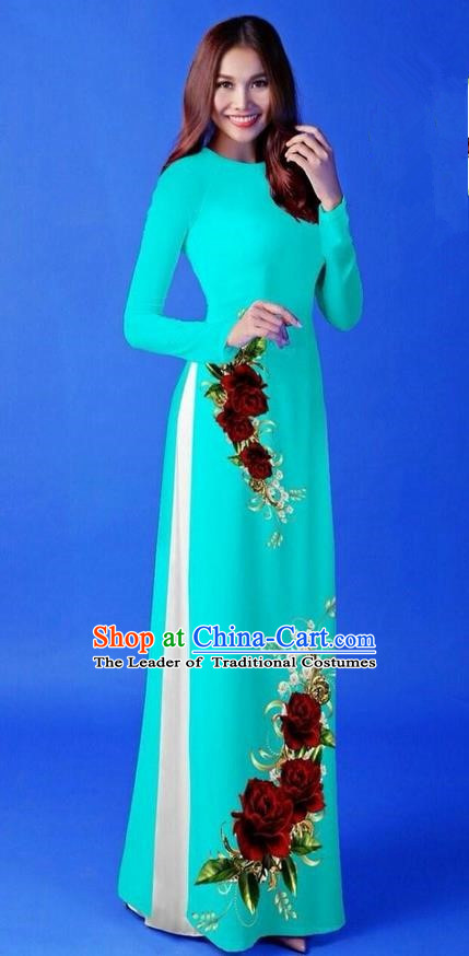 Traditional Top Grade Asian Vietnamese Costumes Classical 3D Printing Blue Long Cheongsam, Vietnam National Vietnamese Princess Ao Dai Dress for Women