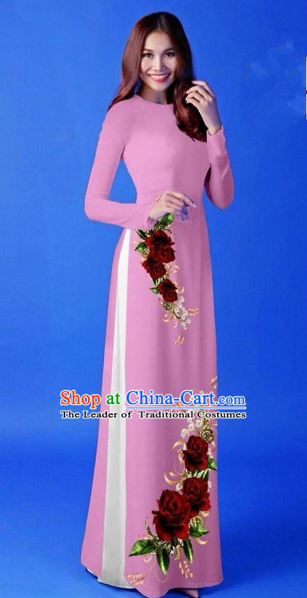 Traditional Top Grade Asian Vietnamese Costumes Classical 3D Printing Pink Long Cheongsam, Vietnam National Vietnamese Princess Ao Dai Dress for Women