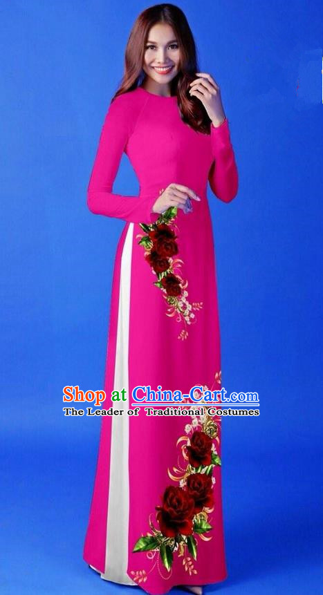 Traditional Top Grade Asian Vietnamese Costumes Classical 3D Printing Rosy Long Cheongsam, Vietnam National Vietnamese Princess Ao Dai Dress for Women