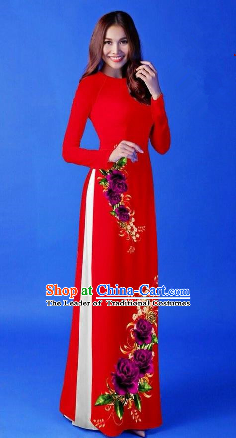 Traditional Top Grade Asian Vietnamese Costumes Classical 3D Printing Red Long Cheongsam, Vietnam National Vietnamese Princess Ao Dai Dress for Women