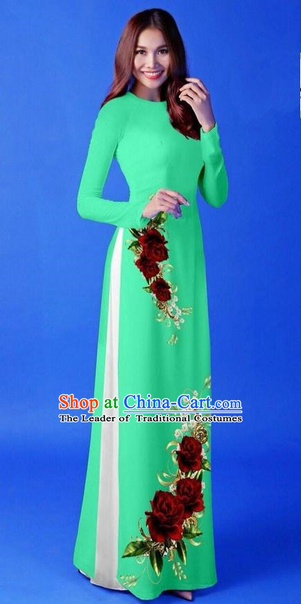 Traditional Top Grade Asian Vietnamese Costumes Classical 3D Printing Green Long Cheongsam, Vietnam National Vietnamese Princess Ao Dai Dress for Women
