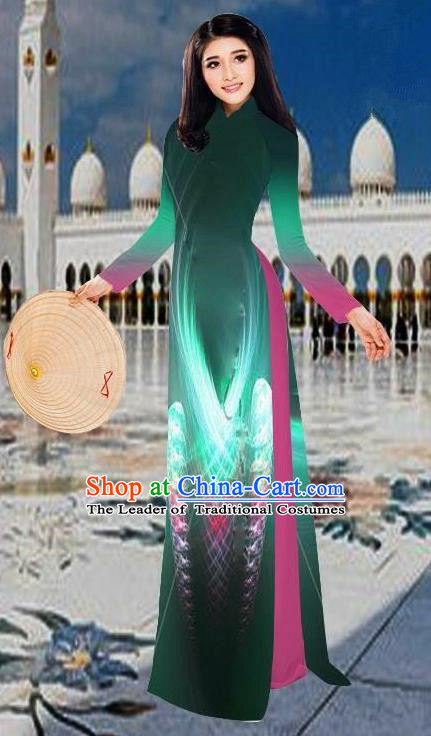 Top Grade Asian Vietnamese Costumes Classical 3D Printing Green Long Cheongsam, Vietnam National Vietnamese Traditional Princess Ao Dai Dress for Women