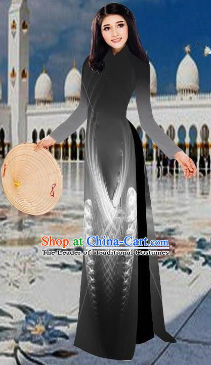Top Grade Asian Vietnamese Costumes Classical 3D Printing Black Long Cheongsam, Vietnam National Vietnamese Traditional Princess Ao Dai Dress for Women