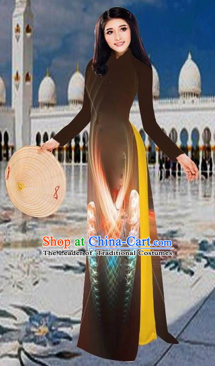 Top Grade Asian Vietnamese Costumes Classical 3D Printing Brown Long Cheongsam, Vietnam National Vietnamese Traditional Princess Ao Dai Dress for Women