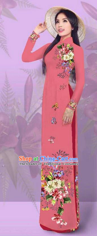 Top Grade Asian Vietnamese Costumes Classical Jing Nationality Printing Watermelon Red Cheongsam, Vietnam National Vietnamese Traditional Princess Ao Dai Dress for Women