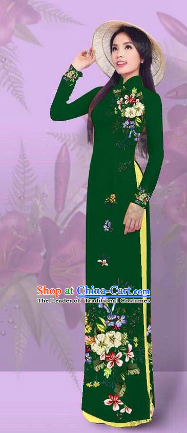 Top Grade Asian Vietnamese Costumes Classical Jing Nationality Printing Deep Green Cheongsam, Vietnam National Vietnamese Traditional Princess Ao Dai Dress for Women