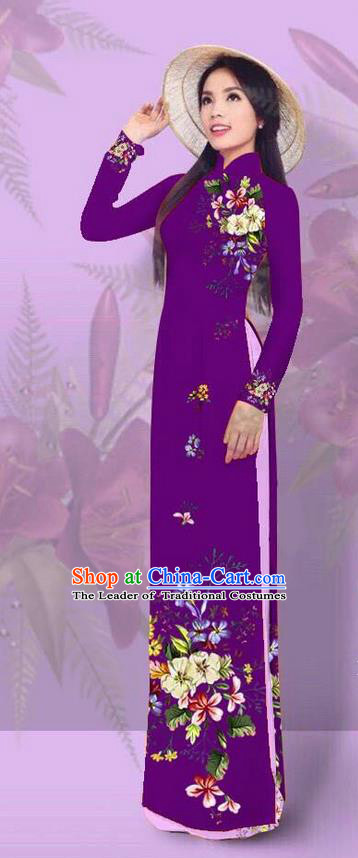 Top Grade Asian Vietnamese Costumes Classical Jing Nationality Printing Amaranth Cheongsam, Vietnam National Vietnamese Traditional Princess Ao Dai Dress for Women