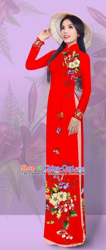 Top Grade Asian Vietnamese Costumes Classical Jing Nationality Printing Red Cheongsam, Vietnam National Vietnamese Traditional Princess Ao Dai Dress for Women