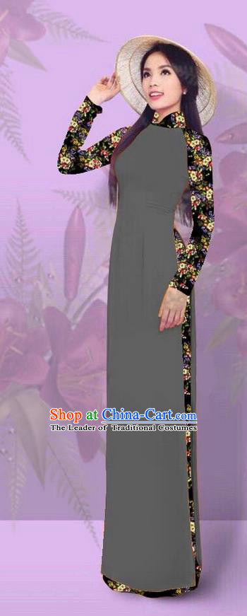Top Grade Asian Vietnamese Costumes Classical Jing Nationality Printing Grey Cheongsam, Vietnam National Vietnamese Traditional Princess Ao Dai Dress for Women