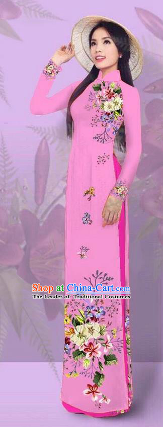Top Grade Asian Vietnamese Costumes Classical Jing Nationality Printing Pink Cheongsam, Vietnam National Vietnamese Traditional Princess Ao Dai Dress for Women