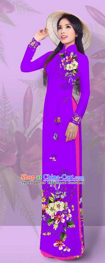 Top Grade Asian Vietnamese Costumes Classical Jing Nationality Printing Purple Cheongsam, Vietnam National Vietnamese Traditional Princess Ao Dai Dress for Women