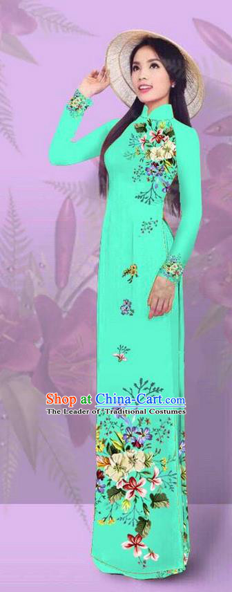 Top Grade Asian Vietnamese Costumes Classical Jing Nationality Printing Light Green Cheongsam, Vietnam National Vietnamese Traditional Princess Ao Dai Dress for Women