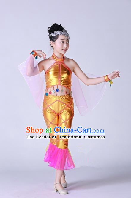 Top Grade Professional Compere Modern Dance Costume, Children Opening Dance Chorus Fish Dance Uniforms Golden Clothing Complete Set for Girls