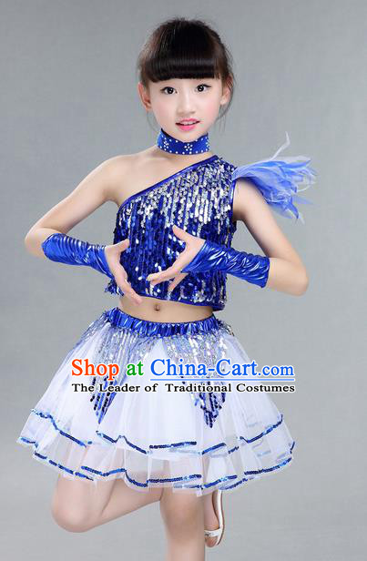 Top Grade Professional Compere Modern Dance Costume, Children Jazz Dance Latin Dance Uniforms Blue Clothing Complete Set for Girls