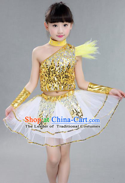 Top Grade Professional Compere Modern Dance Costume, Children Jazz Dance Latin Dance Uniforms Golden Clothing Complete Set for Girls