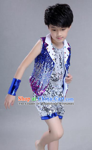 Top Grade Professional Compere Modern Dance Costume, Children Jazz Dance Latin Dance Uniforms Blue Clothing Complete Set for Boys