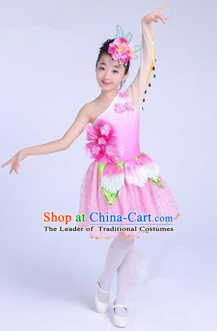 Top Grade Professional Compere Modern Dance Costume, Children Lotus Dance Folk Classical Dance Uniforms Pink Bubble Dress for Girls