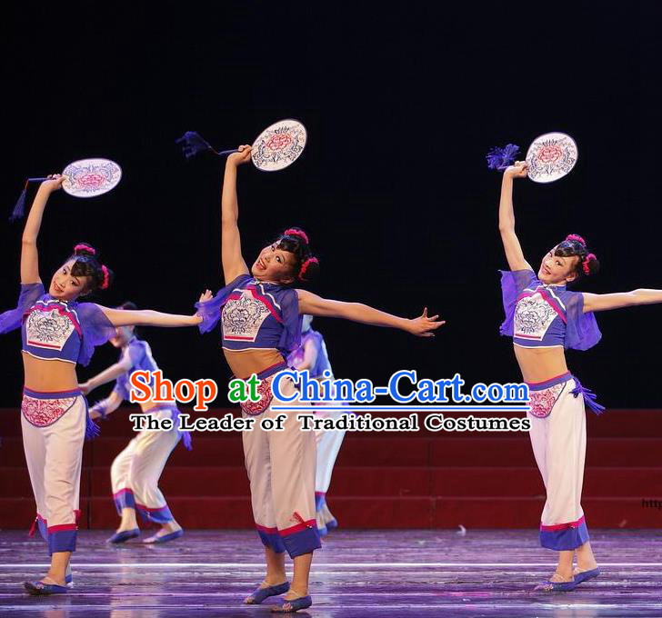 Traditional Chinese Classical Dance Yangge Fan Dancing Costume, Folk Dance Drum Dance Uniform Yangko Clothing for Girls