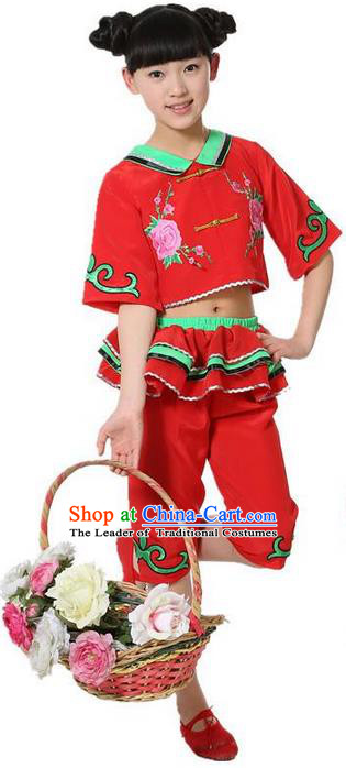 Traditional Chinese Classical Dance Yangge Fan Dancing Costume, Folk Dance Drum Dance Uniform Yangko Red Clothing for Girls