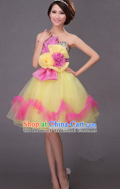 Top Grade Classic Stage Performance Chorus Singing Group Dance Costumes, Chorus Competition Costume, Compere Yellow Bubble Dress for Women