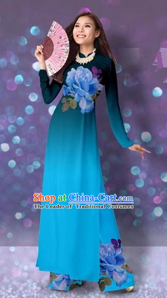 Traditional Top Grade Asian Vietnamese Costumes Classical Printing Cheongsam, Vietnam National Vietnamese Princess Blue Ao Dai Dress Dance Clothing