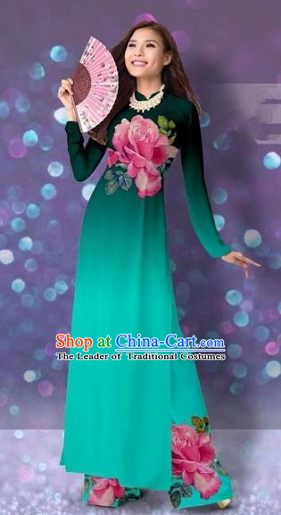 Traditional Top Grade Asian Vietnamese Costumes Classical Printing Cheongsam, Vietnam National Vietnamese Princess Green Ao Dai Dress Dance Clothing