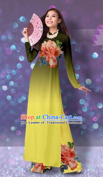 Traditional Top Grade Asian Vietnamese Costumes Classical Printing Cheongsam, Vietnam National Vietnamese Princess Yellow Ao Dai Dress Dance Clothing