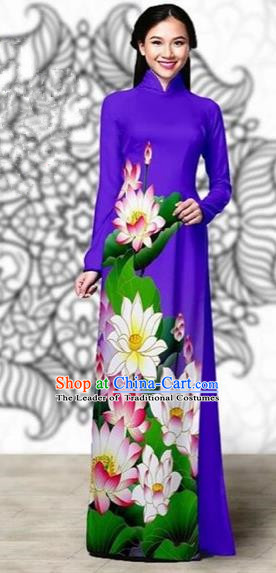 Traditional Top Grade Asian Vietnamese Costumes Classical Printing Lotus Cheongsam, Vietnam National Vietnamese Young Lady Miss Etiquette Purple Ao Dai Dress