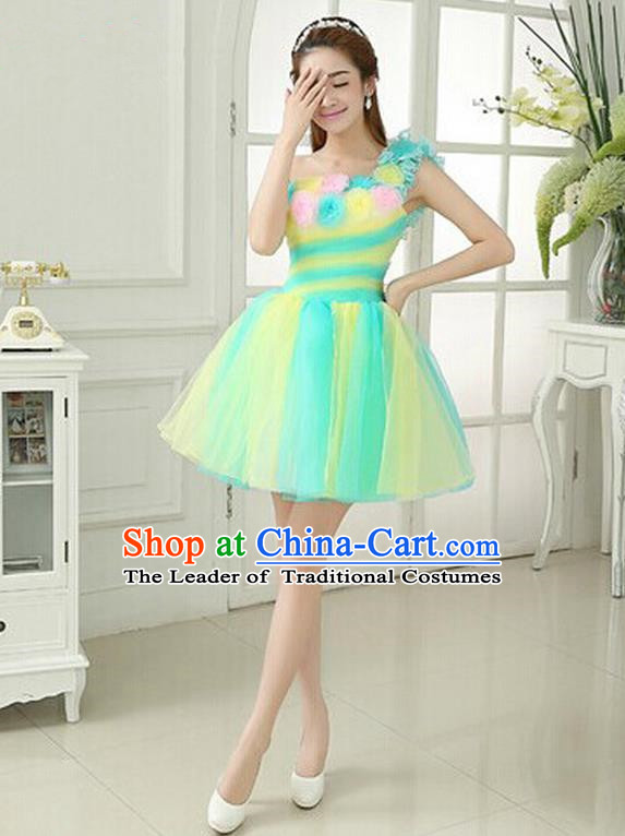 Top Grade Classic Stage Performance Chorus Singing Group Dance Costumes, Chorus Competition Costume, Compere Green Bubble Dress for Women
