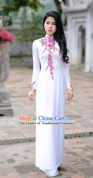 Traditional Top Grade Asian Vietnamese Costumes Classical Printing Cheongsam, Vietnam National Vietnamese Princess Bride White Ao Dai Dress Dance Clothing
