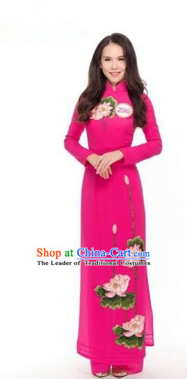 Traditional Top Grade Asian Vietnamese Costumes Classical Applique Cheongsam, Vietnam National Vietnamese Princess Bride Ao Dai Dress Dance Clothing