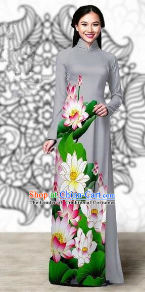 Traditional Top Grade Asian Vietnamese Costumes Classical Printing Lotus Cheongsam, Vietnam National Vietnamese Young Lady Miss Etiquette Grey Ao Dai Dress