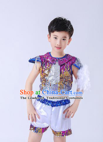 Top Grade Professional Performance Catwalks Costume, Children China Style Chorus Uniform Modern Jazz Dance Clothing for Boys Kids