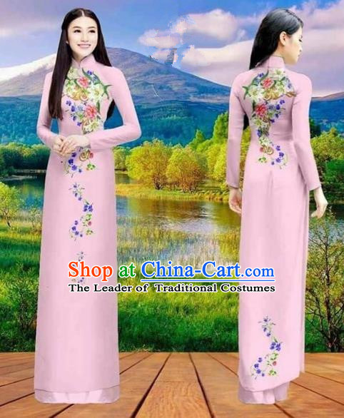 Traditional Top Grade Asian Vietnamese Costumes Classical Double-sided Printing Cheongsam, Vietnam National Vietnamese Princess Bride Pink Ao Dai Dress Dance Clothing