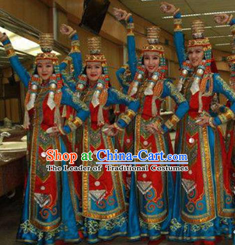 Traditional Chinese Mongol Nationality Dancing Costume, Mongols Female Folk Dance Ethnic Pleated Dress, Chinese Mongolian Minority Nationality Embroidery Clothing for Women