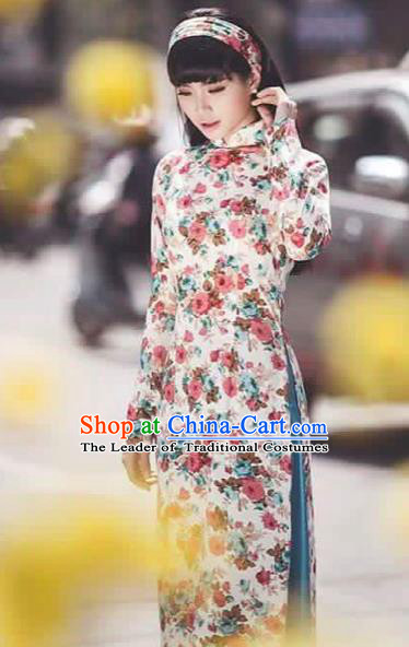 Traditional Top Grade Asian Vietnamese Costumes Classical Printing Cheongsam, Vietnam National Vietnamese Princess Bride Ao Dai Dress Dance Clothing
