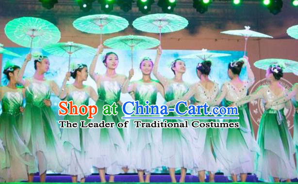 Traditional Chinese Modern Dancing Costume, Women Opening Classic Chorus Singing Group Dance Flowers Costume, Umbrella Dance Green Dress for Women